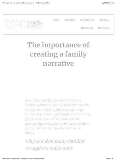 The importance of creating a family narrative – Delfin Private Office