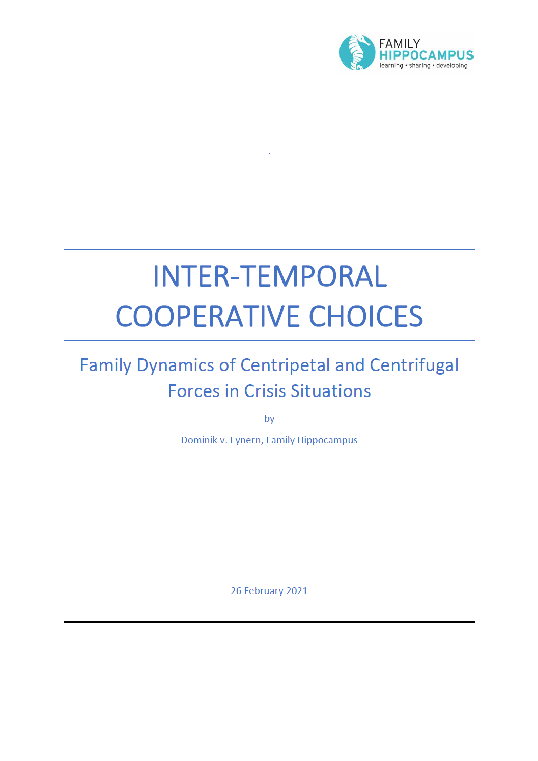 Intertemporal Cooperative Choices - Business F